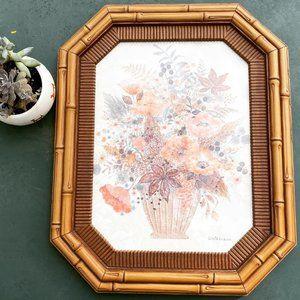 Vintage Gloria Eriksen Faux Bamboo Framed Print